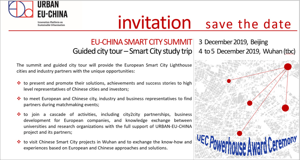 SAVE THE DATE: EU-CHINA SMART CITIES SUMMIT 03 DECEMBER 2019